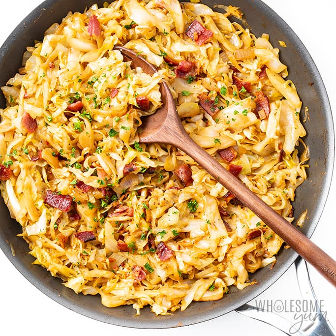 Southern fried cabbage in pan
