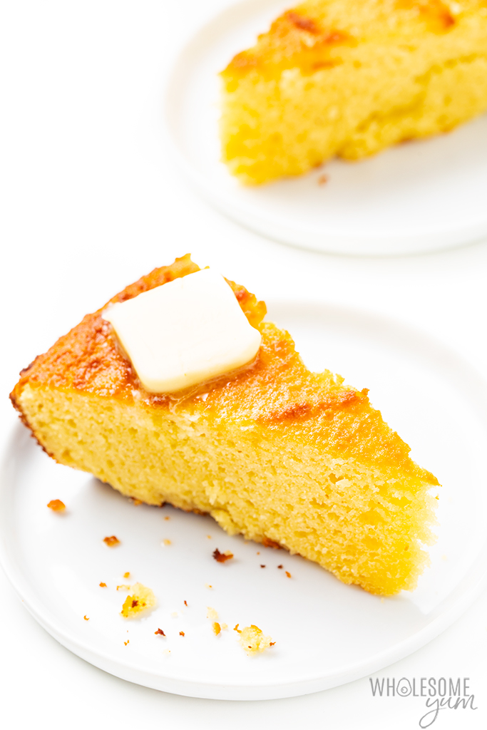 slice of keto friendly cornbread with pat of butter
