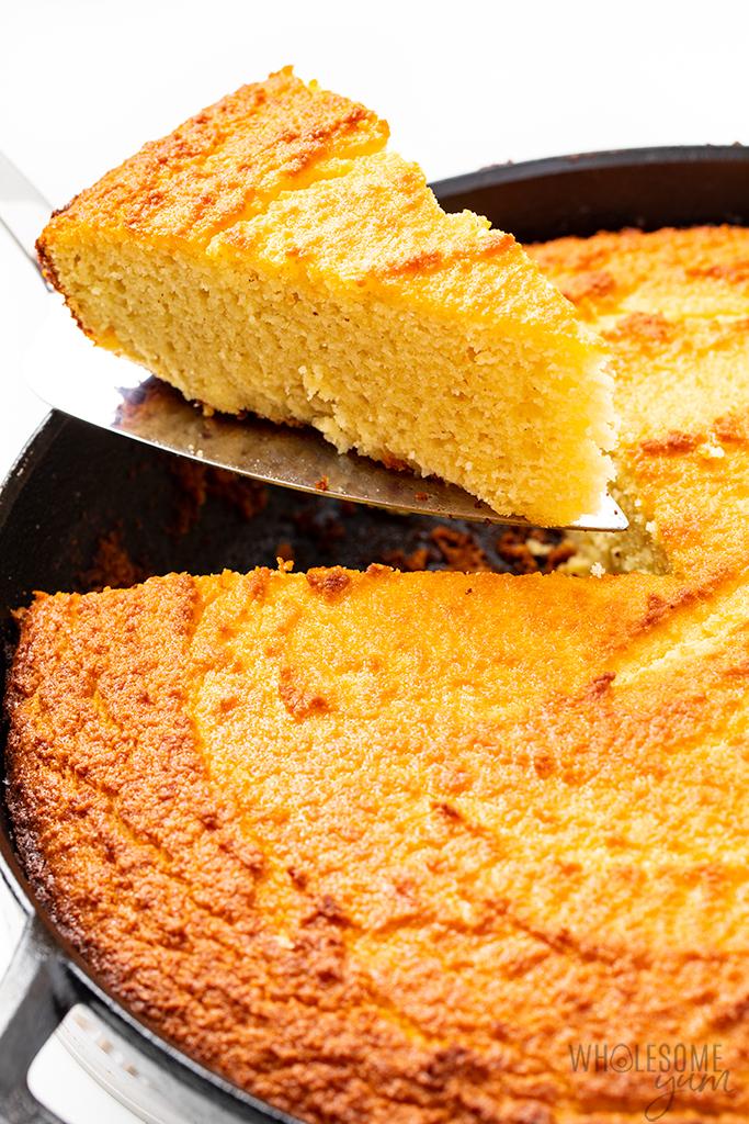 slice of low carb cornbread