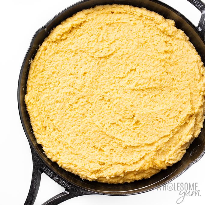 almond flour cornbread in skillet