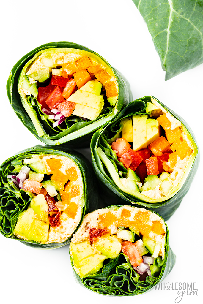 4 vegan collard green wraps