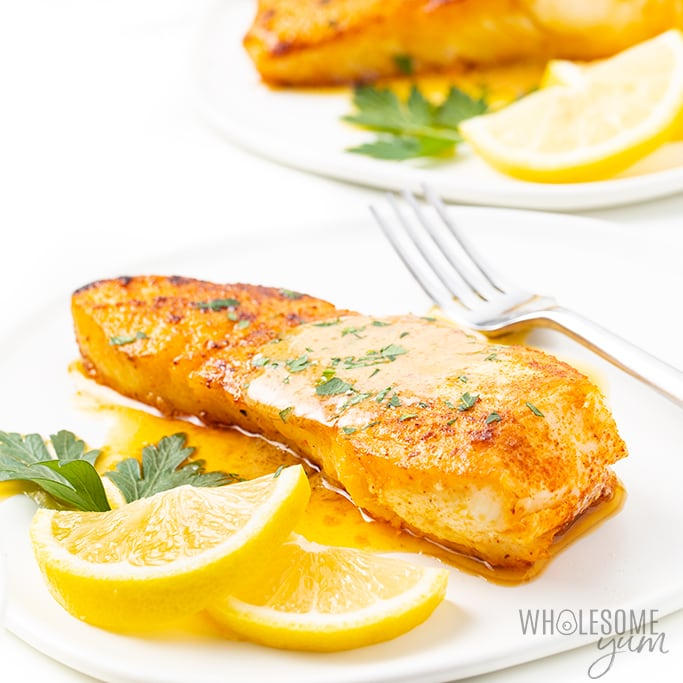 Pan Seared Halibut Recipe With Lemon Butter Sauce Wholesome Yum