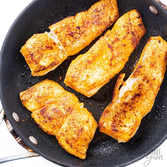pan fried halibut in pan