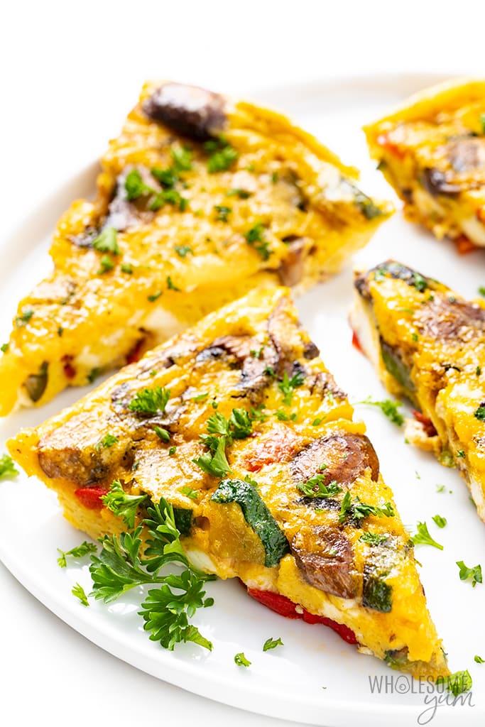 slices of veggie frittata