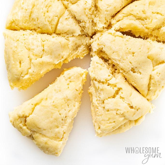 keto fathead roll dough portioned into pieces