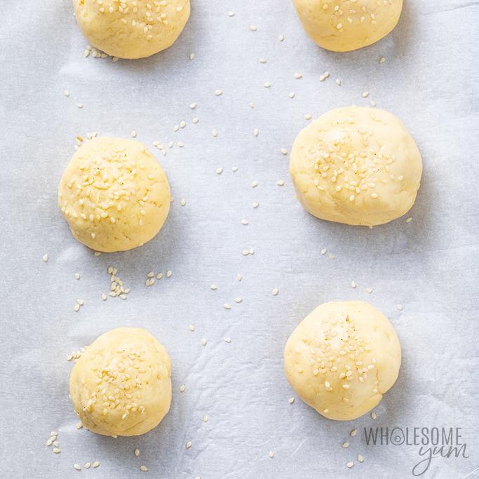 keto bread rolls before baking