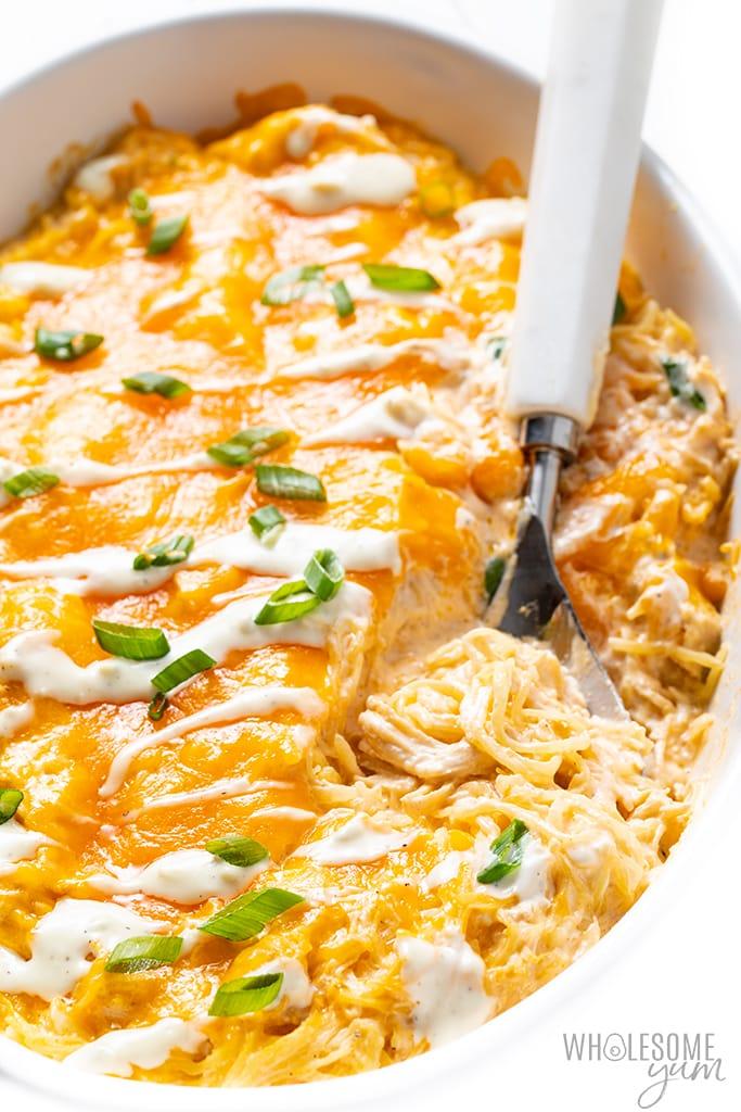 buffalo chicken spaghetti squash casserole with spoon