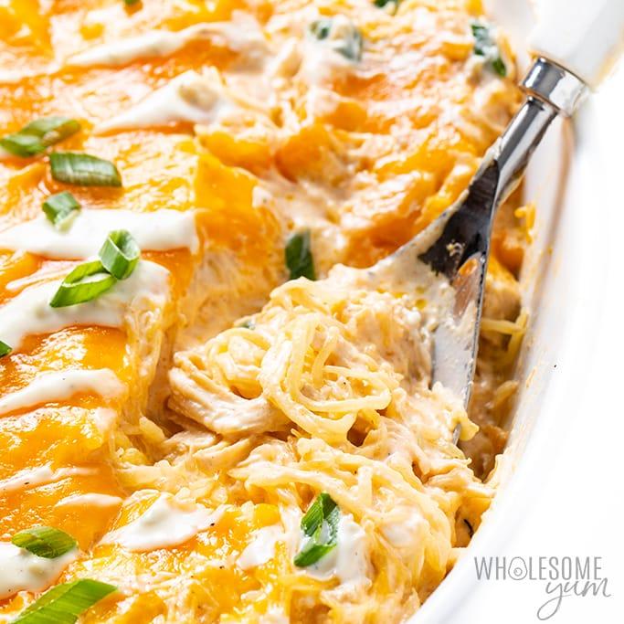 Keto Buffalo Chicken Spaghetti Squash Casserole Recipe closeup