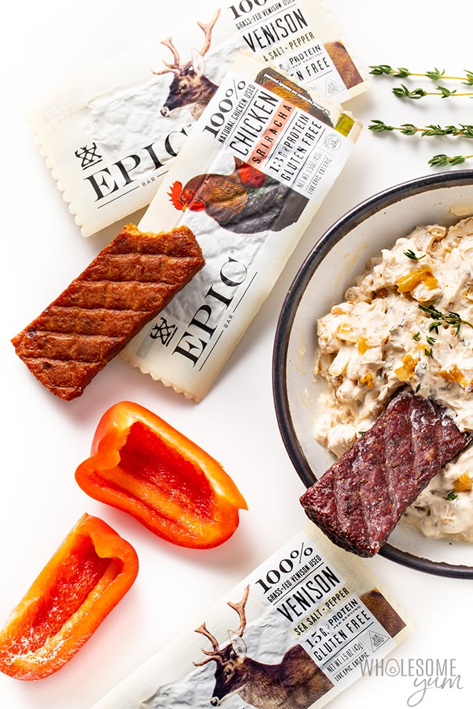 bowl of keto caramelized onion dip with dippers