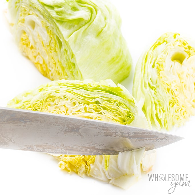 cutting lettuce for classic wedge salad