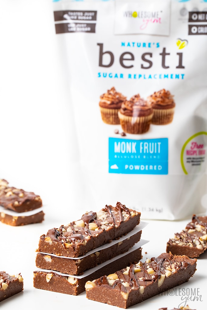 Stacked low carb protein bars with Besti keto sweetener