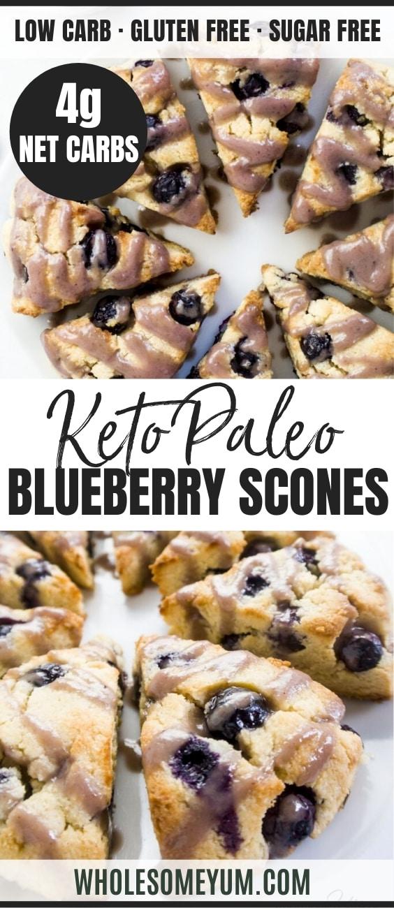 keto blueberry scones (almond flour scones) - pinterest