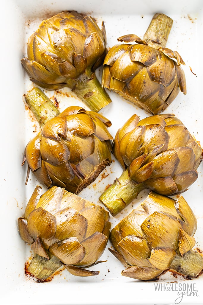 roasted artichoke halves out of oven