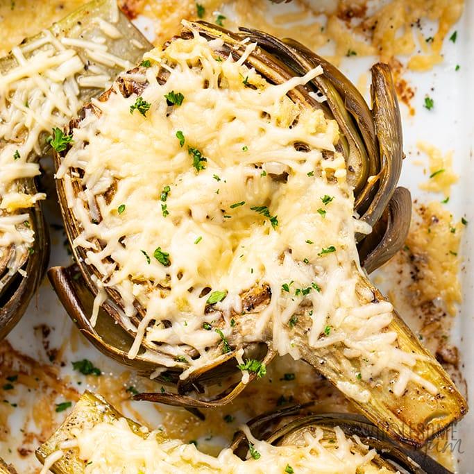 Easy Roasted Artichokes Recipe With Garlic & Parmesan - closeup photo
