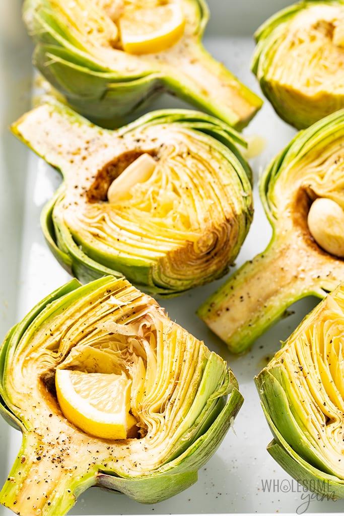 seasoned artichokes for roasted artichoke halves