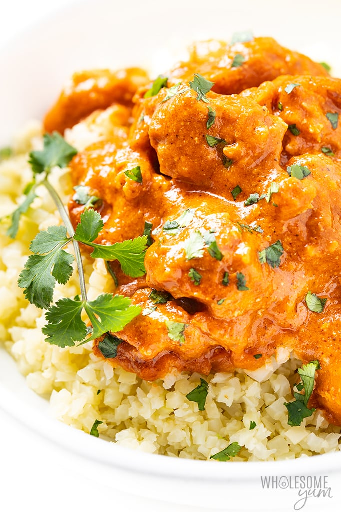 bowl of butter chicken with cilantro