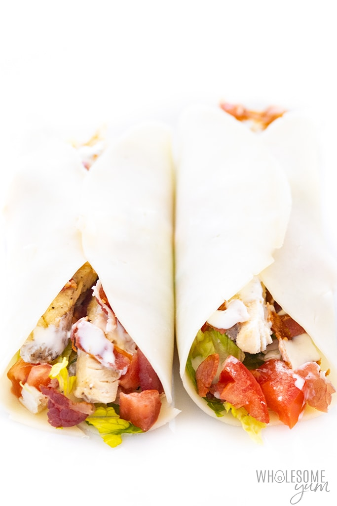 keto wrap recipe with chicken, bacon, and ranch