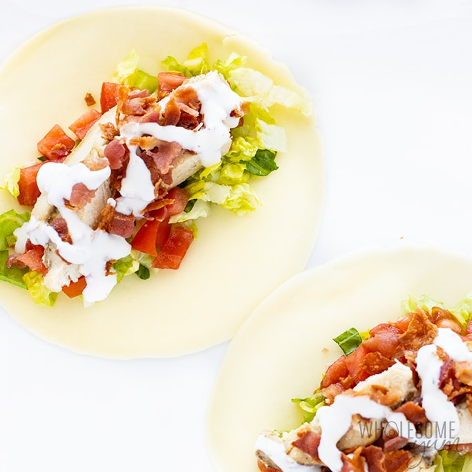 keto sandwich wraps with bacon, chicken, and ranch