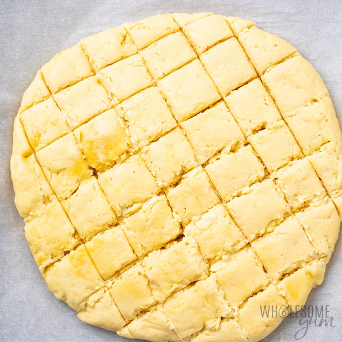 keto cheesy bread with cut grids