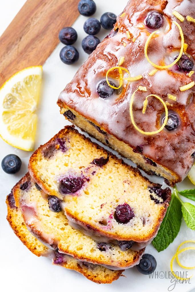 sliced keto lemon blueberry bread