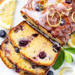 sliced loaf of keto blueberry bread