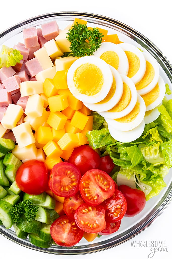 chef salad ingredients in a bowl