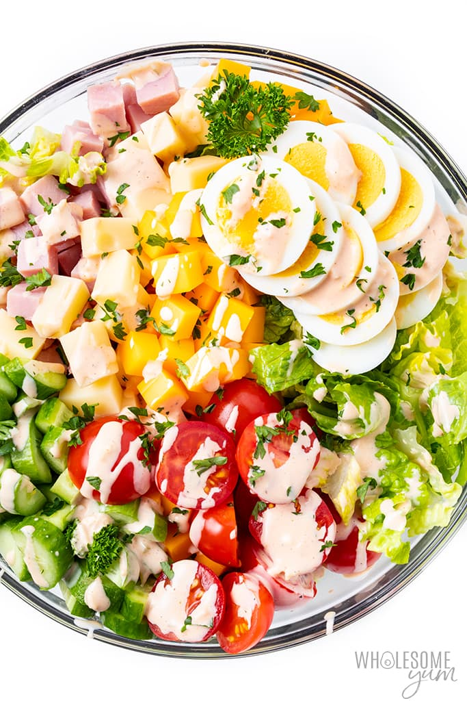 chef salad recipe with dressing in a bowl