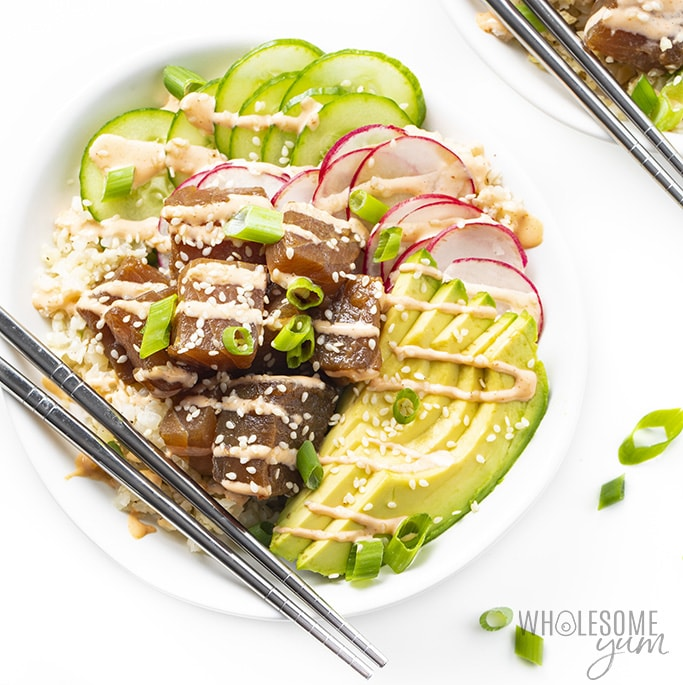 Keto Ahi Poke Bowl Recipe Wholesome Yum