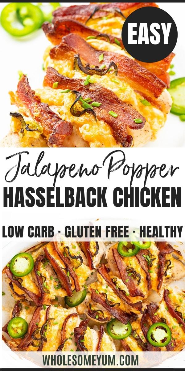 Keto Jalapeno Popper Hasselback Chicken Recipe - Pinterest Image