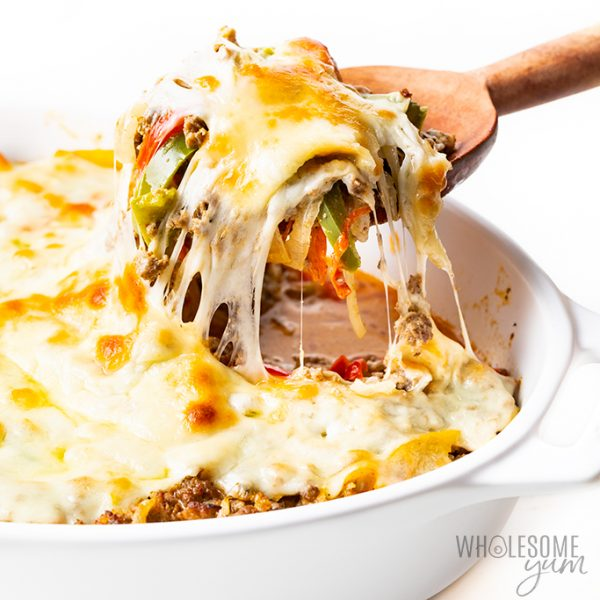 keto philly cheesesteak casserole in dish
