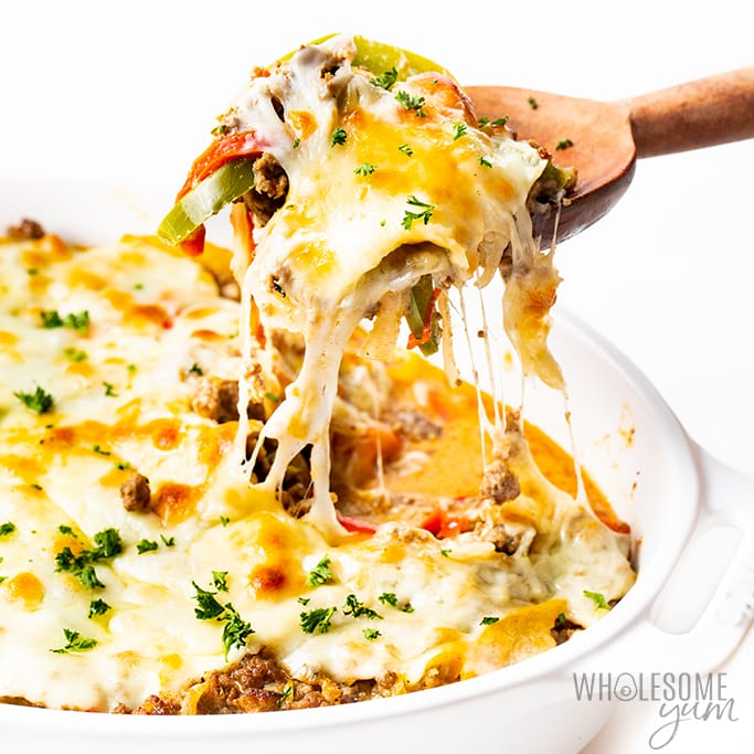 keto philly cheesesteak casserole with cheese pull