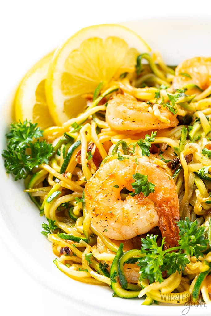 plate of shrimp scampi with zucchini noodles
