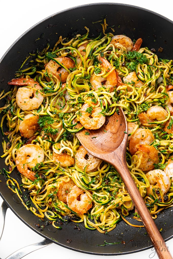 skillet with zucchini shrimp scampi