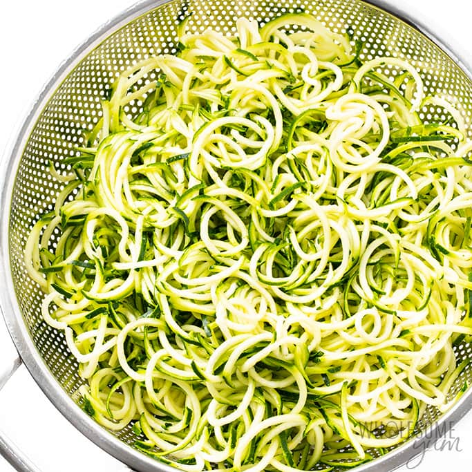 draining zoodles