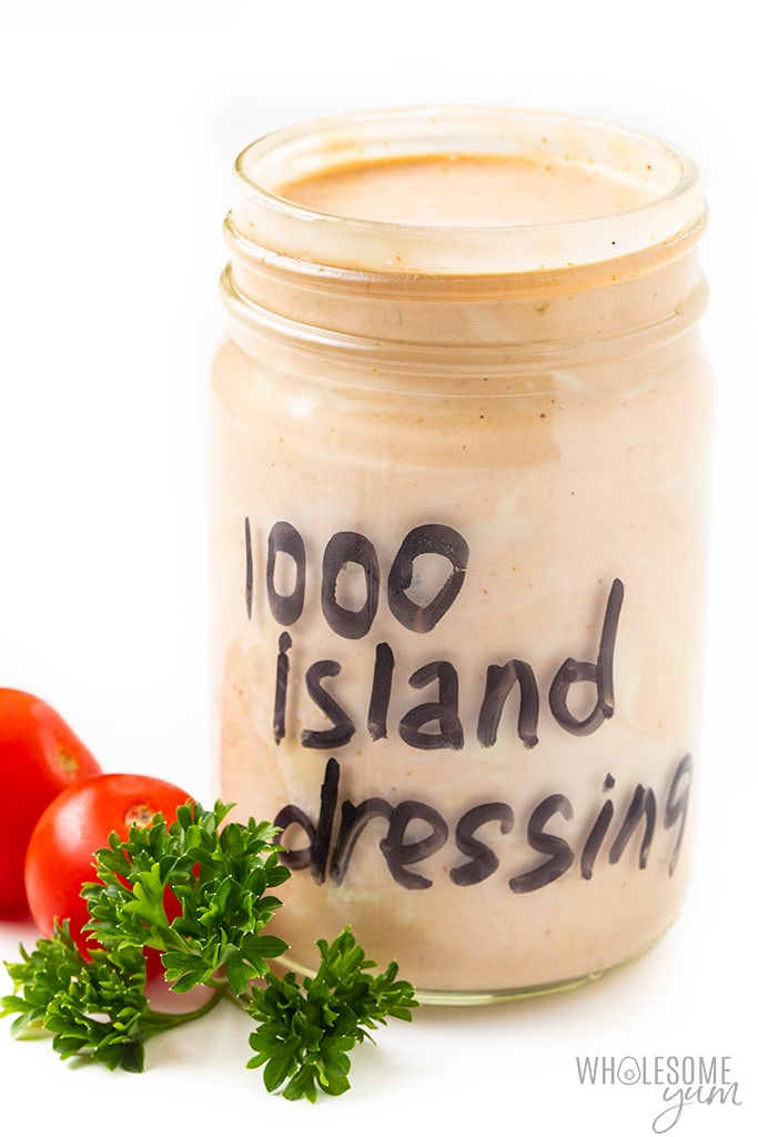 homemade thousand island dressing in a jar