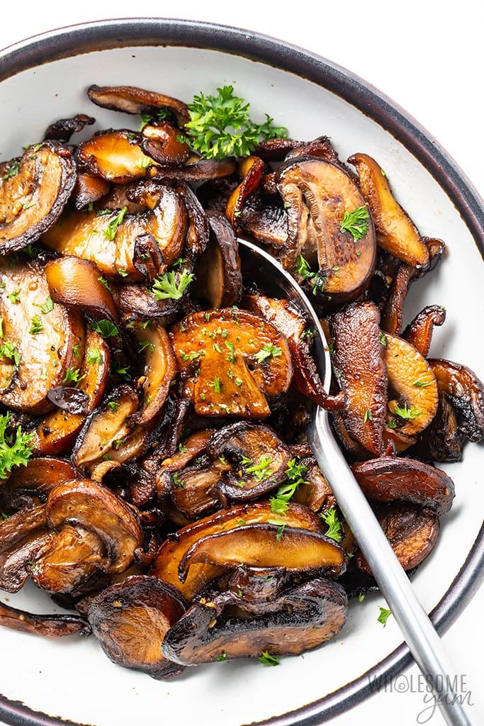 dish of garlic butter mushrooms