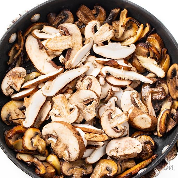 sauteed garlic mushrooms in pan