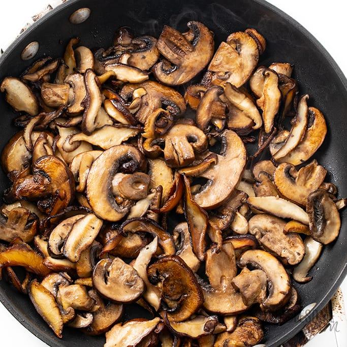 sauteed mushrooms lightly browned