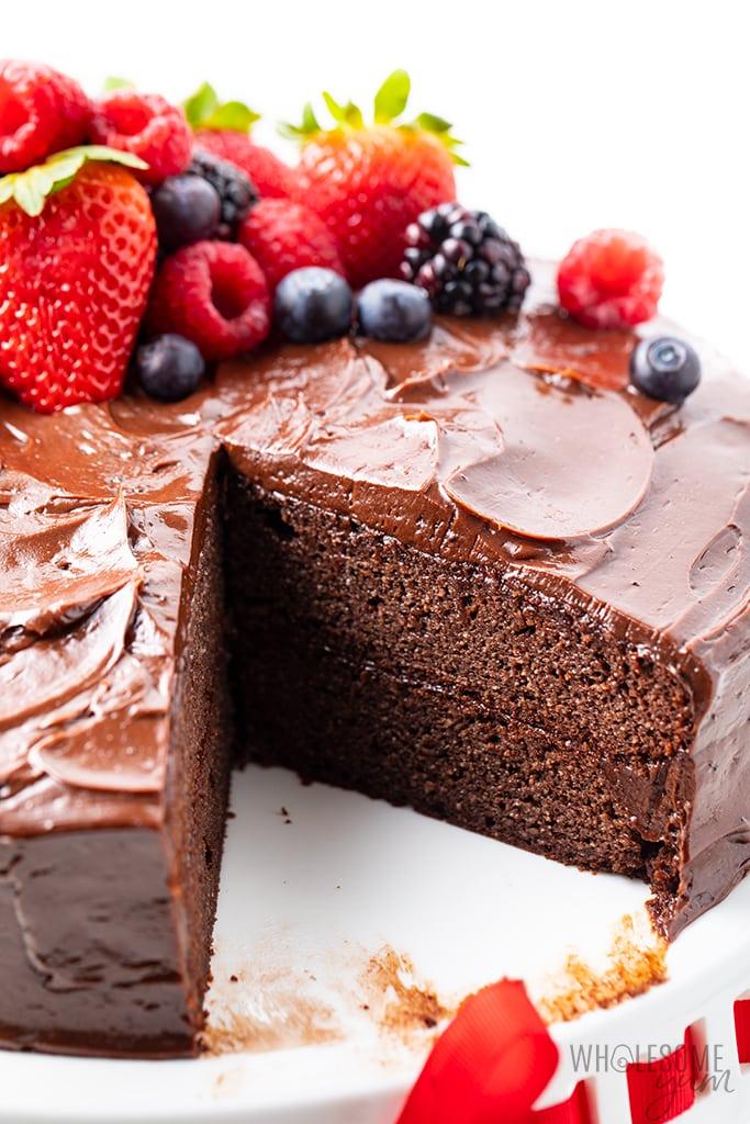 best keto chocolate cake on stand