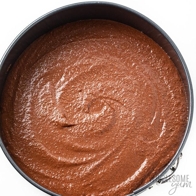 chocolate keto cake ready to bake