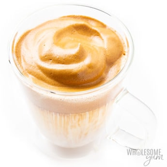 Keto whipped dalgona coffee in a clear mug