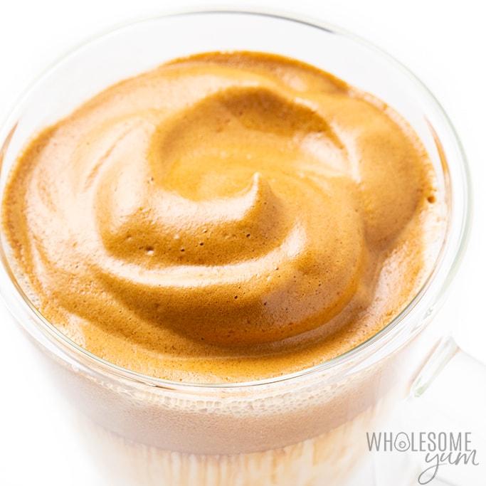 whipped dalgona coffee in mug
