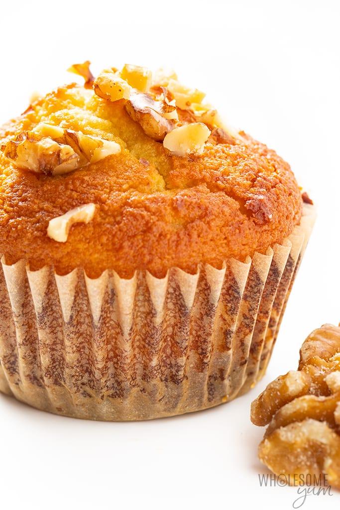sugar-free banana muffins close up