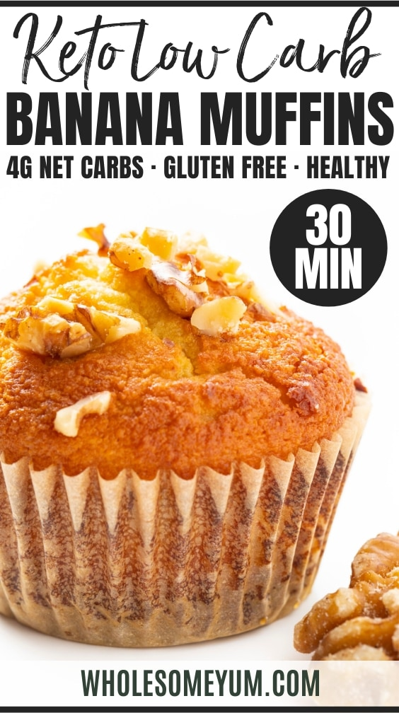 Low carb banana muffins recipe - Pinterest pin