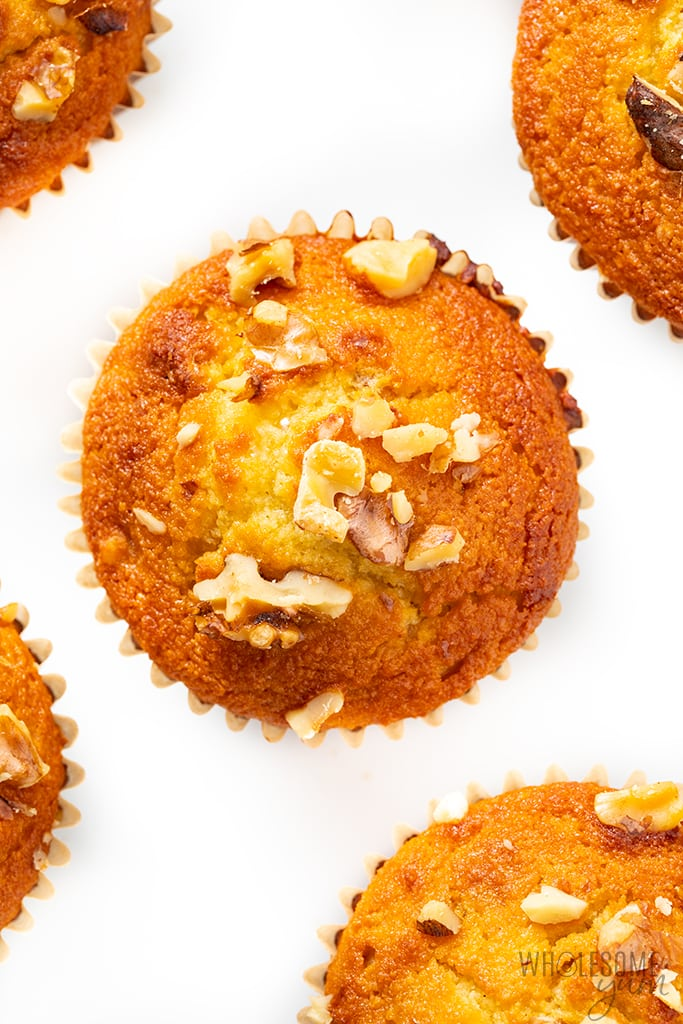 low carb banana muffins top view