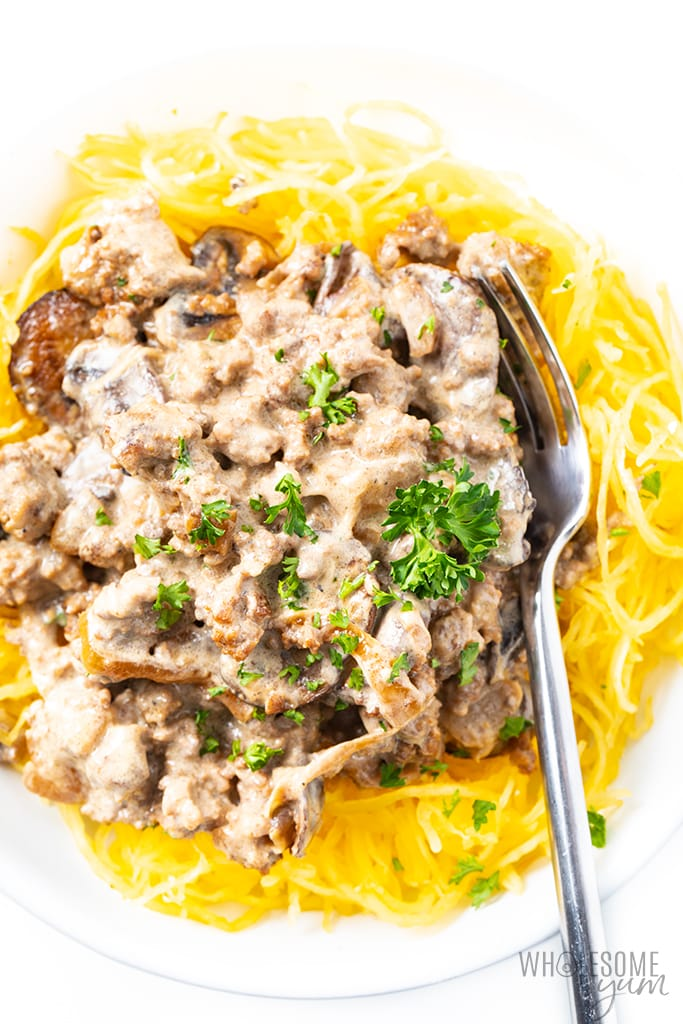 beef stroganoff with sour cream over spaghetti squash
