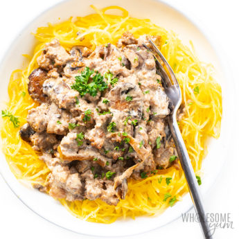 plate of keto beef stroganoff Detail: low-carb-keto-ground-beef-stroganoff-recipe-with-cream-cheese-37