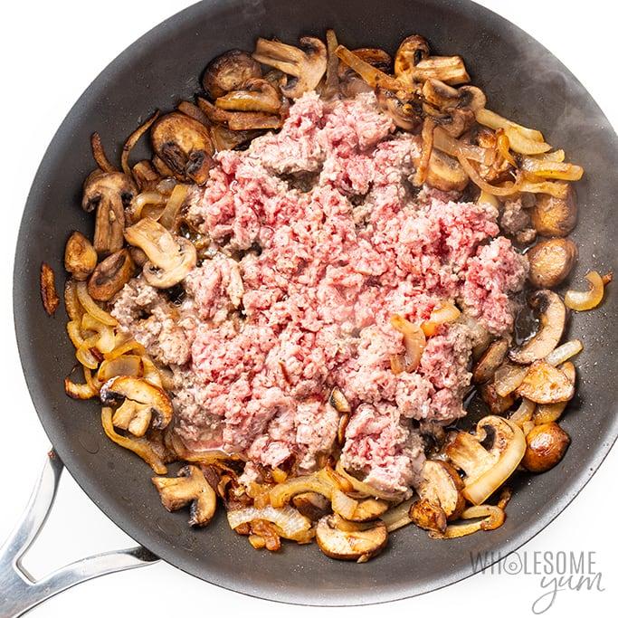 keto ground beef stroganoff in skillet