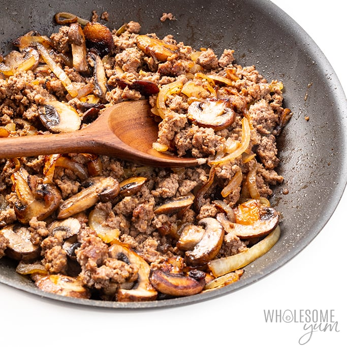 Beef, mushrooms, and onions for beef stroganoff