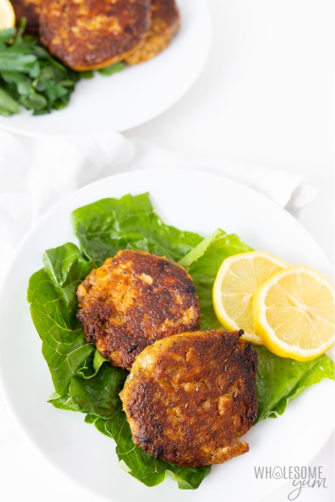 low carb salmon patties on plate